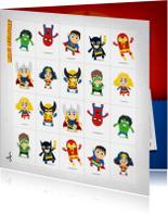 Kinderfeestjes - superhelden memory uitnodiging