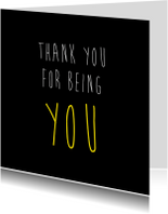Vriendschap kaarten - Thank you for being you