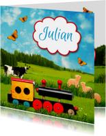 Geboortekaartjes - treintje landschap jongen