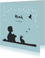 Trendy silhouet  geboortekaartje van een jongetje en dieren