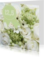 Jubileumkaarten - Trouwboeket 12,5 jaar witte roos