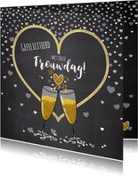 Trouwdag stijlvolle felicitatie champagne en hartjes