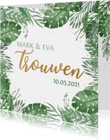 Trouwkaart botanical bladeren stipjes