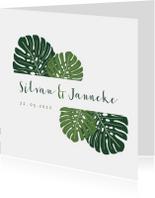 Trouwkaart botanisch groen met grote bladeren