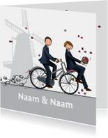 Trouwkaart bruidegommen huwelijk fiets