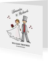 Trouwkaart bruidspaar rode hartjes