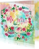 Trouwkaart geschilderd Mr & Mrs