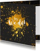 Trouwkaart gouden spetters