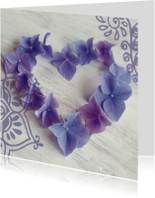 Trouwkaarten - Trouwkaart hart hortensiabloemen
