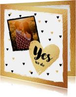 Trouwkaart hartjes en eigen foto, hip met goud
