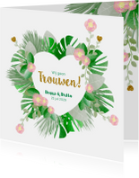 Trouwkaart hippe kaart met bloemen en botanica