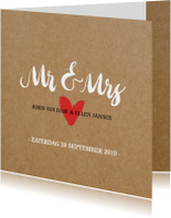 Trouwkaart kraft Mr en Mrs