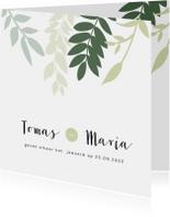 Trouwkaart met groene takjes