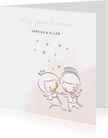 Trouwkaart met illustratie bruidspaard en gouden hartjes