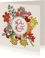 Trouwkaart met prachtige bloemenkrans