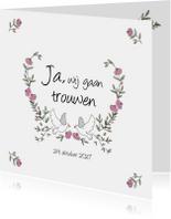 Trouwkaarten - Trouwkaart met rozen en duiven