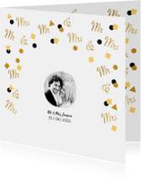 Trouwkaart Mr. & Mrs. in goud confetti