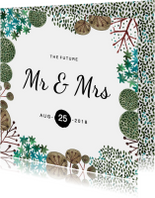 Trouwkaart Mr & Mrs Rustic