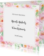 Trouwkaart pastel rozen met kader