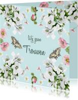 Trouwkaarten - Trouwkaart Romantische bloemen vlinders