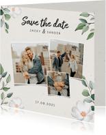 Trouwkaart Save the date botanisch met fotocollage