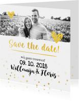Trouwkaart save the date goud met foto