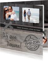 Trouwkaart Stijlvol Hout Foto's