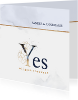 Trouwkaart 'Yes' rozen blauw en goud