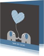 Geboortekaartjes - Tweeling olifantjes, jongens