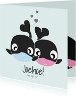 Tweelingkaart jongen meisje met schattige dieren