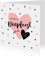 Uitnodiging doopfeest meisje met hippe hartjes en foto