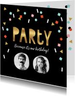 Uitnodiging feestje goud zwart confetti vrolijk