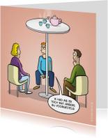 Uitnodiging high tea met grappige cartoon