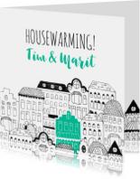 Uitnodiging housewarming illustratie herenhuisjes