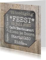 Uitnodigingen - Uitnodiging hout en bord RB