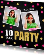 Uitnodiging kinderfeestje foto confetti roze
