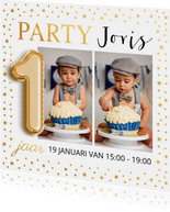 Uitnodiging kinderfeestje foto goud confetti ballon 1 jaar
