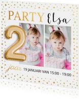 Uitnodiging kinderfeestje foto goud confetti ballon 2 jaar