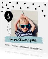 Uitnodiging kinderfeestje jongen confetti ballon