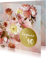 Uitnodigingen - Uitnodiging met klassiek bloem boeket roze