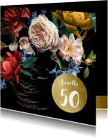Uitnodigingen - Uitnodiging modern klassiek bloem stilleven met goud
