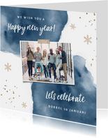 Uitnodigingen - Uitnodiging nieuwjaarsborrel zakelijk goudlook watercolor