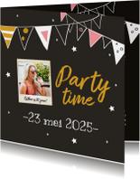 Uitnodiging - party time met foto