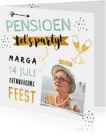 Uitnodiging pensioen hip en trendy met foto