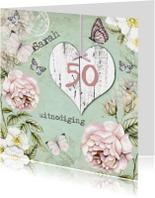 Uitnodigingen - uitnodiging Sarah vintage hart
