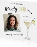 Uitnodiging verjaardag cocktailfeestje met foto