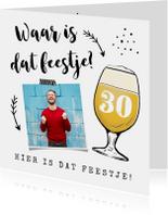 Uitnodiging verjaardag met bier en eigen foto