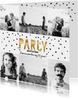 Uitnodiging verjaardag samen party goud