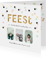 Uitnodigingen - Uitnodiging verjaardagsfeest pastel confetti goud letters