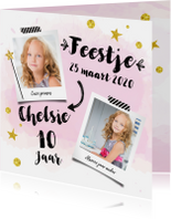 Uitnodiging verjaardagskaart Feestje roze